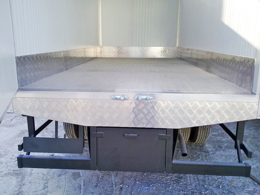 Final Top of truck flooring covered with Aluminium Chequered Sheets